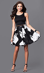 Image of two-piece black and ivory floral-print party dress. Style: MY-9160pz1p Detail Image 1