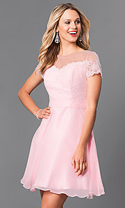 Image of illusion-lace bodice a-line chiffon party dress. Style: PO-7518 Detail Image 3