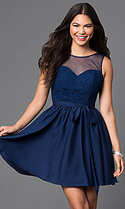 Short Lace-Bodice Illusion Homecoming Dress