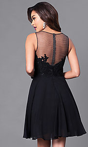 Image of short embellished lace-bodice chiffon dress.  Style: PO-7652 Back Image