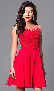 Short Embellished Lace-Bodice Chiffon Dress