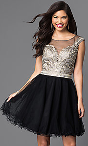 Short Dress with Lace Bodice