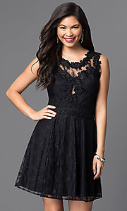 Image of short lace homecoming dress with scoop neckline. Style: PO-7846 Detail Image 2