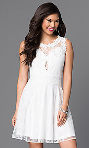 Image of short lace homecoming dress with scoop neckline. Style: PO-7846 Front Image