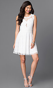 Image of short lace homecoming dress with scoop neckline. Style: PO-7846 Detail Image 1