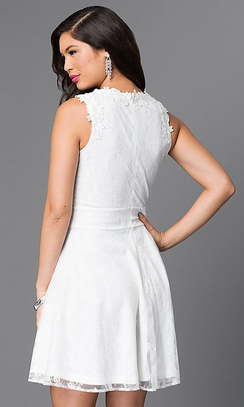 Image of short lace homecoming dress with scoop neckline. Style: PO-7846 Back Image