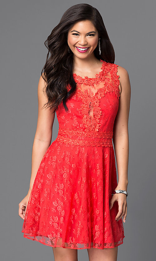 Image of short lace homecoming dress with scoop neckline. Style: PO-7846 Detail Image 3