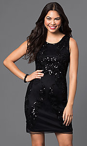 Image of sleeveless short sequined-mesh homecoming dress. Style: PO-7838 Front Image