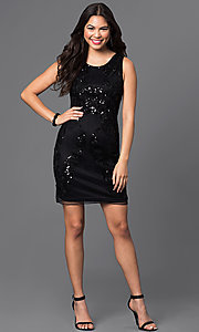 Image of sleeveless short sequined-mesh homecoming dress. Style: PO-7838 Detail Image 3