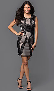 Image of sleeveless short sequined-mesh homecoming dress. Style: PO-7838 Detail Image 2