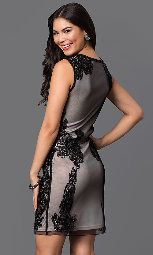 Image of sleeveless short sequined-mesh homecoming dress. Style: PO-7838 Back Image