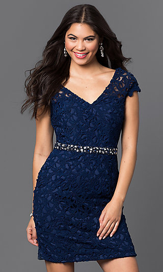 Short Fitted V-Neck Cap Sleeve Lace Dress