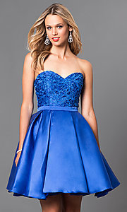 Image of strapless short homecoming dress with lace applique. Style: PO-7800 Front Image