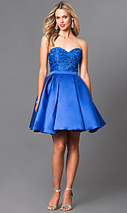 Image of strapless short homecoming dress with lace applique. Style: PO-7800 Detail Image 3