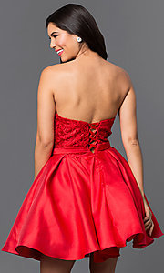 Image of strapless short homecoming dress with lace applique. Style: PO-7800 Back Image