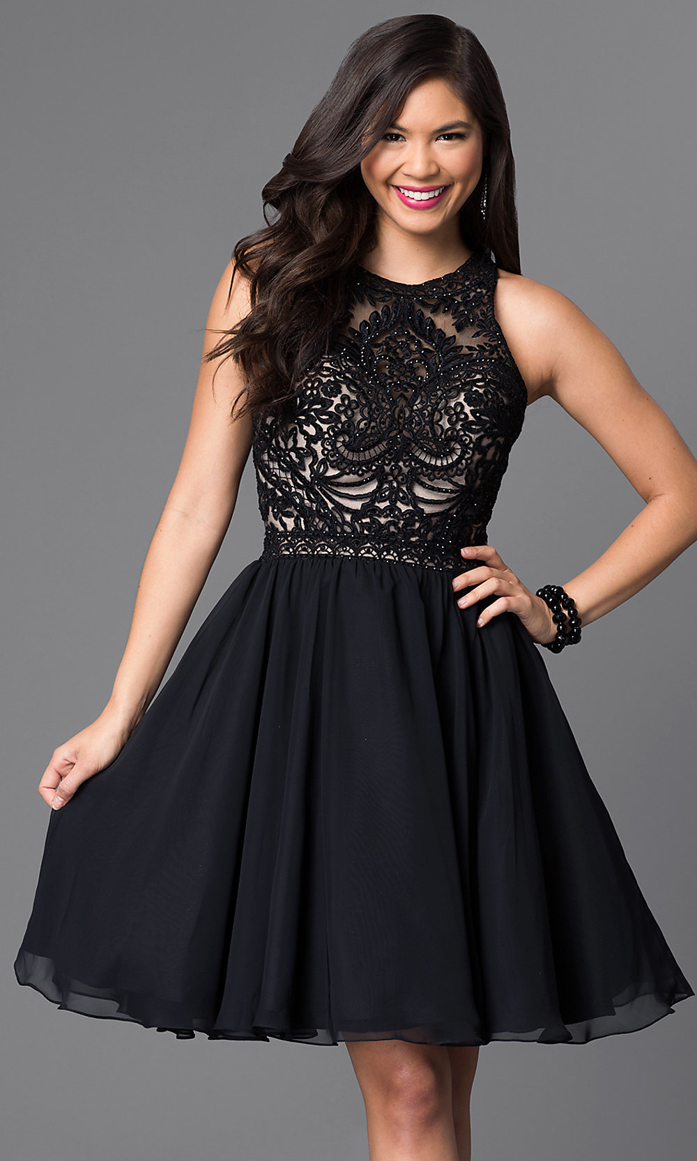 Knee-Length Lace-Bodice Homecoming Dress - PromGirl