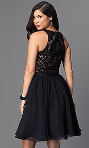 Image of knee-length homecoming dress with beaded-lace bodice. Style: PO-7794 Back Image