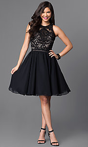 Image of knee-length homecoming dress with beaded-lace bodice. Style: PO-7794 Detail Image 1