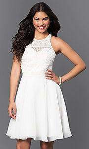Bead Embellished Lace Bodice Racerback Dress
