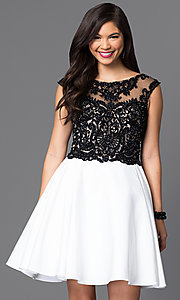 Beaded Lace Bodice Short Dress