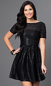 Short-Sleeve Black Sequin Homecoming Dress