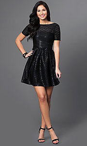 Image of short-sleeve black sequin homecoming dress. Style: MT-7722 Detail Image 1
