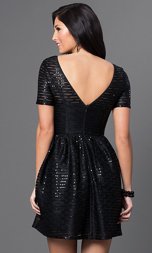 Image of short-sleeve black sequin homecoming dress. Style: MT-7722 Back Image