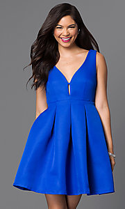 Image of fit and flare royal blue homecoming dress. Style: MT-7497 Front Image