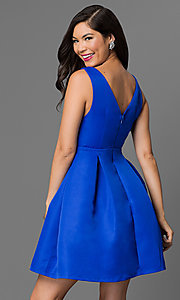 Image of fit and flare royal blue homecoming dress. Style: MT-7497 Back Image