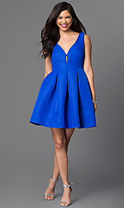 Image of fit and flare royal blue homecoming dress. Style: MT-7497 Detail Image 1