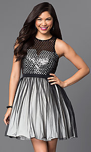 Image of sleeveless sequin-embellished short homecoming dress. Style: MT-7568 Front Image