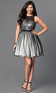 Image of sleeveless sequin-embellished short homecoming dress. Style: MT-7568 Detail Image 1
