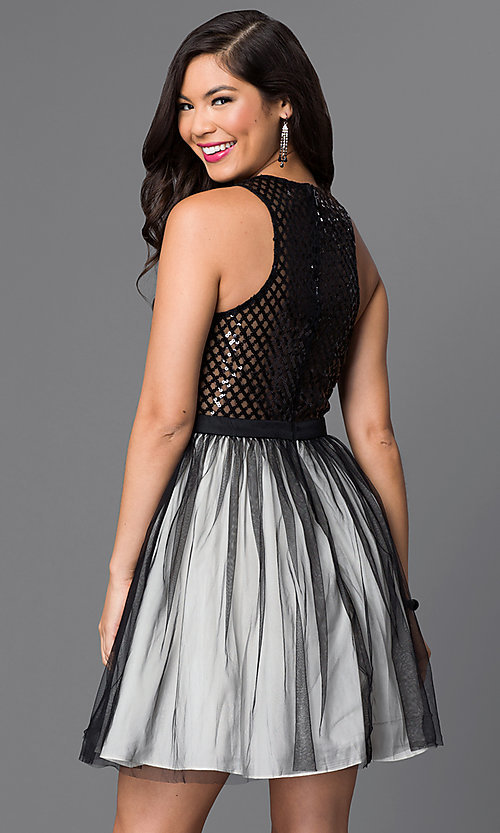 Image of sleeveless sequin-embellished short homecoming dress. Style: MT-7568 Back Image
