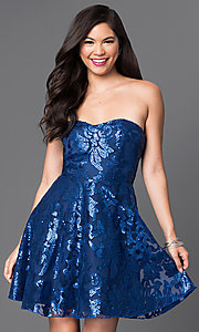 Image of sequin-embellished royal blue homecoming dress. Style: MT-7737 Front Image
