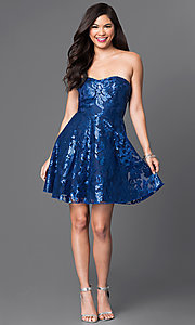 Image of sequin-embellished royal blue homecoming dress. Style: MT-7737 Detail Image 1