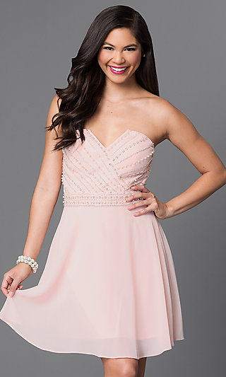 Light Pink Strapless Beaded-Bodice Homecoming Dress
