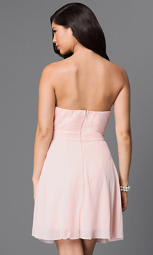 Image of light pink strapless beaded-bodice homecoming dress. Style: MT-7795-1 Back Image