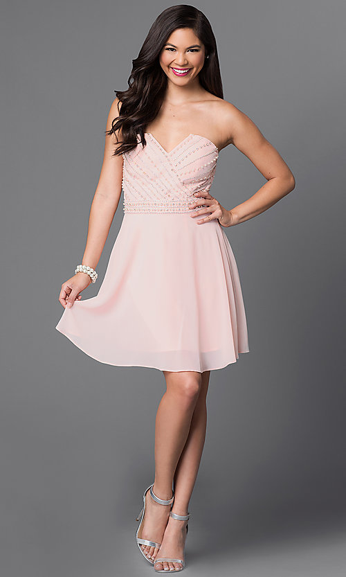 Image of light pink strapless beaded-bodice homecoming dress. Style: MT-7795-1 Detail Image 1