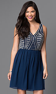 Navy Blue Sleeveless Party Dress with Beaded Bodice