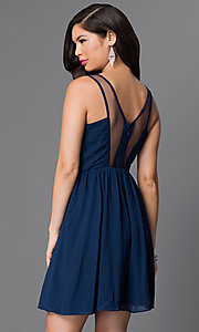 Image of navy blue sleeveless party dress with beaded bodice. Style: MT-7598-3 Back Image