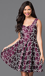 Short Sleeveless Textured-Print Homecoming Dress