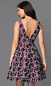 Image of short sleeveless textured-print homecoming dress. Style: MT-8082 Back Image