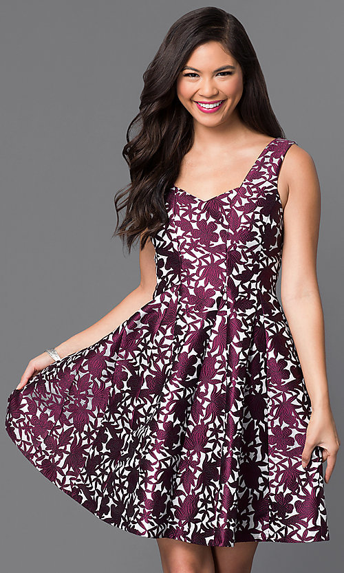 Image of short sleeveless textured-print homecoming dress. Style: MT-8082 Front Image