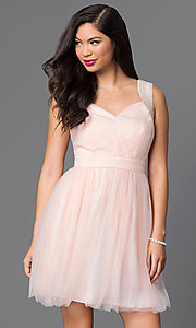 Image of short sleeveless v-neck cute homecoming dress. Style: MT-7069-1 Front Image