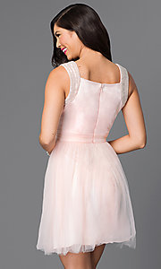 Image of short sleeveless v-neck cute homecoming dress. Style: MT-7069-1 Back Image