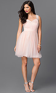 Image of short sleeveless v-neck cute homecoming dress. Style: MT-7069-1 Detail Image 1
