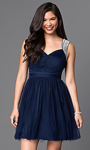 Image of short sleeveless v-neck cute homecoming dress. Style: MT-7069-1 Detail Image 2
