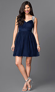 Image of short sleeveless v-neck cute homecoming dress. Style: MT-7069-1 Detail Image 3