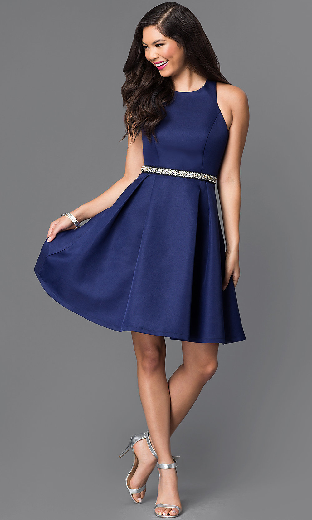 Navy Blue Short Homecoming Party Dress Promgirl
