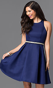 Short Navy Blue Fit-and-Flare Homecoming Dress